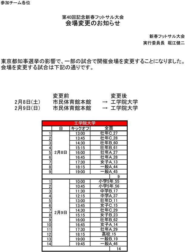 第40回記念新春フットサル大会 会場変更のお知らせ